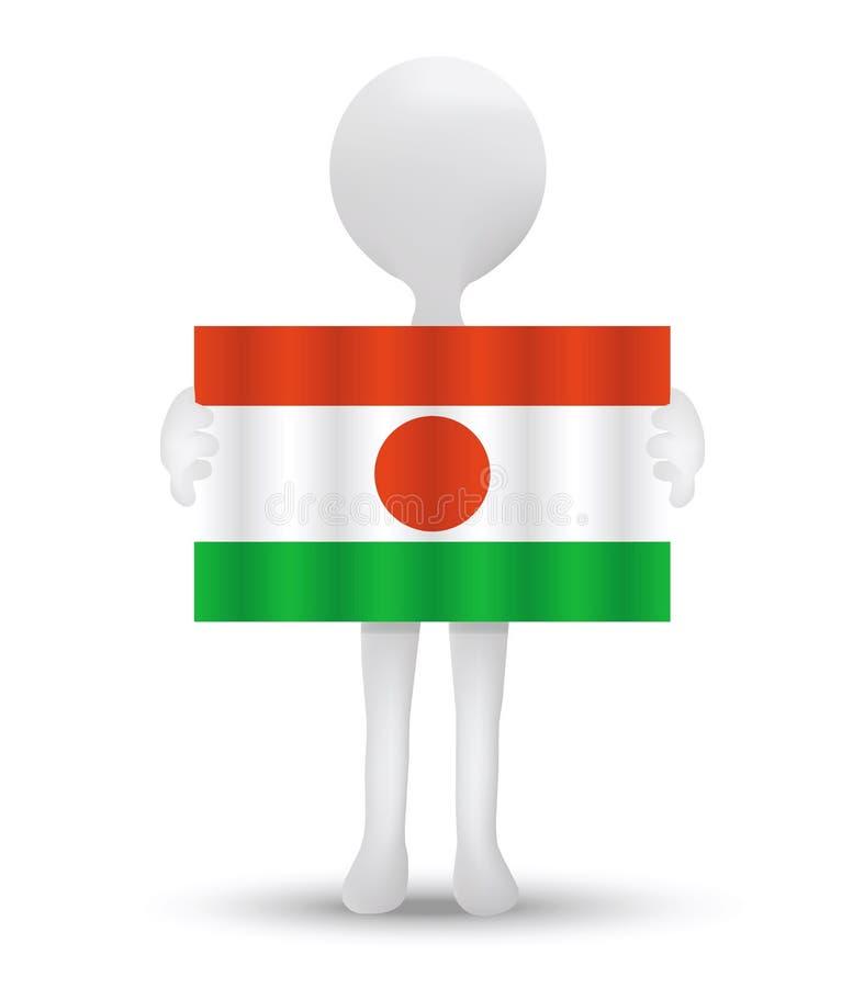 kleine 3d mens die een vlag van Republiek Niger houden royalty-vrije illustratie