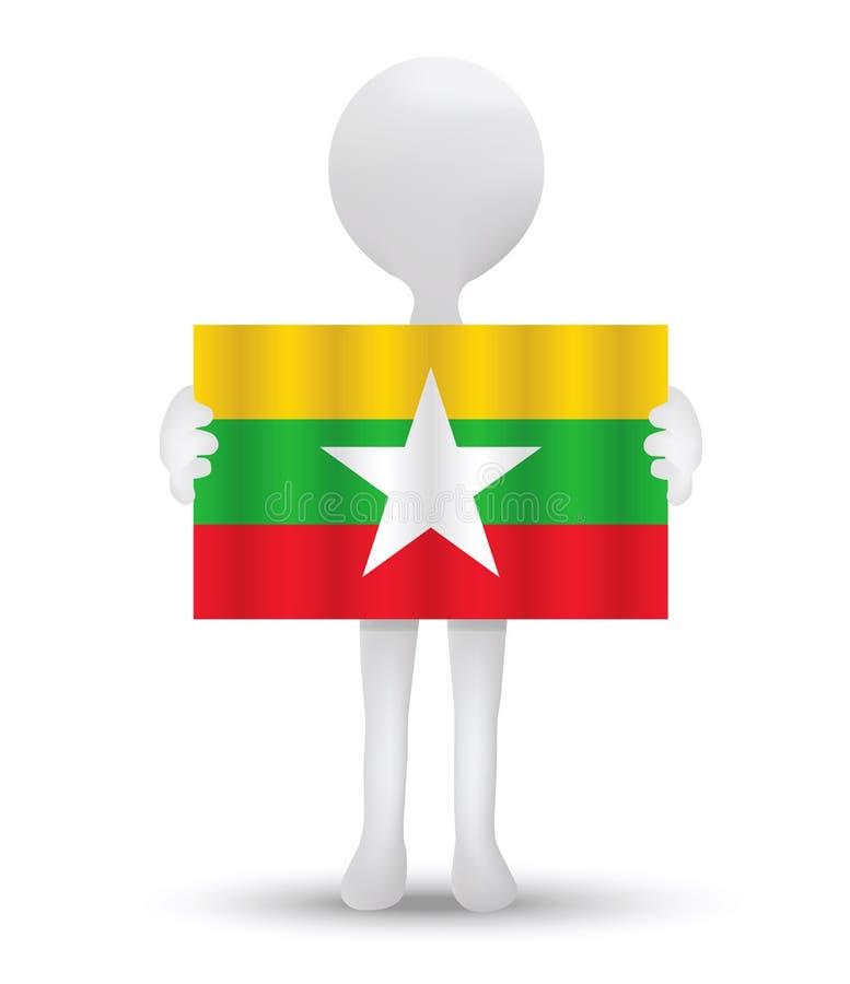kleine 3d mens die een vlag van Republiek van de Unie van Myanmar houden stock illustratie