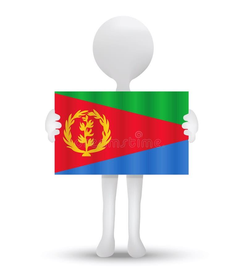kleine 3d mens die een vlag van Staat van Eritrea houden vector illustratie