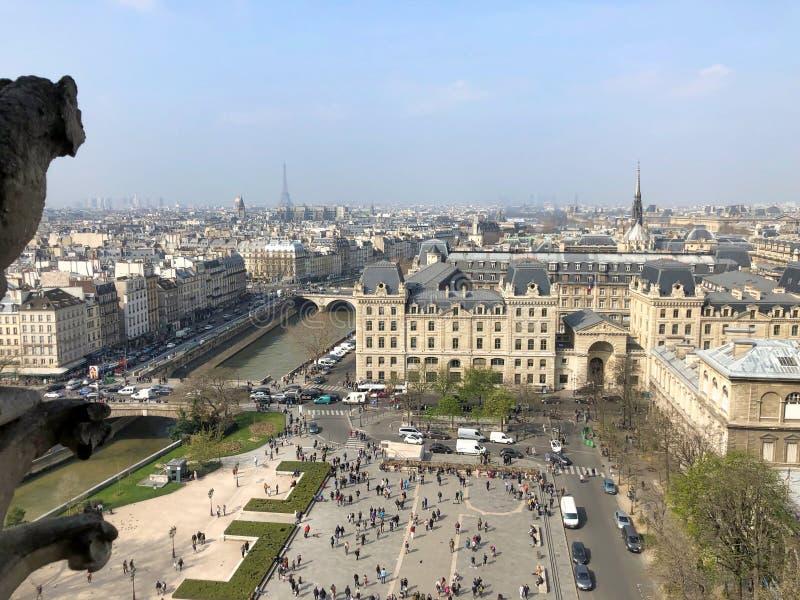 Kleine Details des Wasserspeiers und der Schimäre im Luftstadtbild von Notre Dame stockfoto