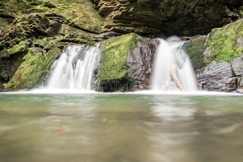 Kleine die bergwaterval op de rotsen met mos in het bos worden behandeld stock foto's
