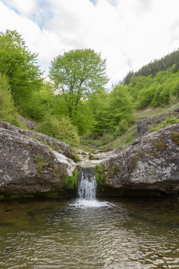 Kleine die bergwaterval op de rotsen met mos in het bos worden behandeld royalty-vrije stock afbeeldingen