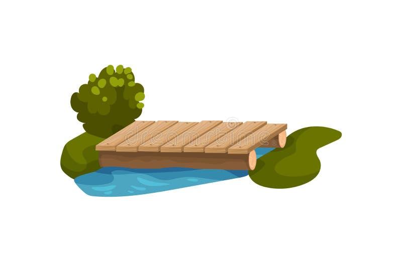 Kleine die brug van houten planken, blauwe vijver, groene boom, gras en struik wordt gemaakt Voorwerp voor park of binnenplaats V stock illustratie
