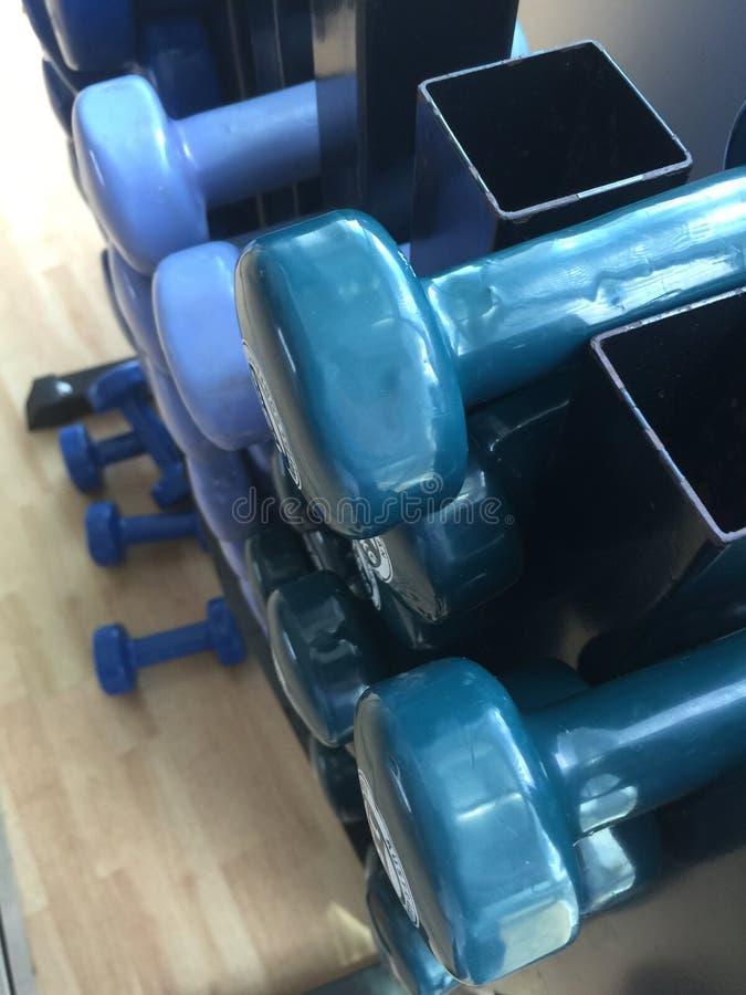 Kleine dumbells im Turnhallengestell lizenzfreie stockbilder