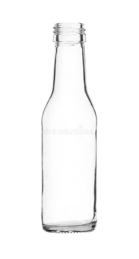 Kleine Eenvoudige die Glasfles op witte achtergrond wordt geïsoleerd stock foto's