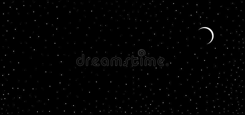Kleine Eklipse des bunten abstrakten Nachtansichtschwarz-Himmels wie hinaufkletternder Hintergrund Mond des Sternes stock abbildung