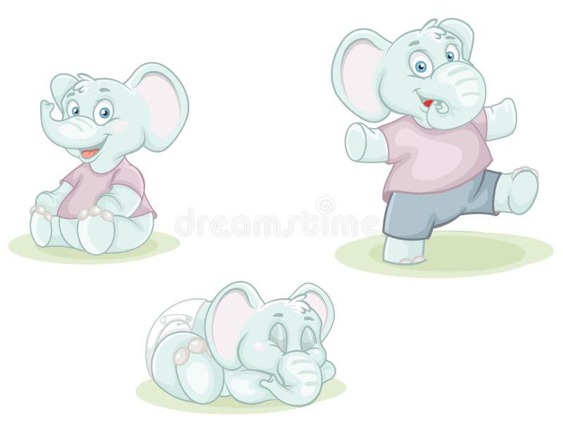 Kleine Elefanten der Karikatur lizenzfreie abbildung