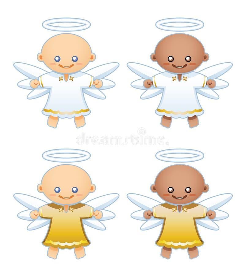 Kleine engelen in witte en gouden robes vector illustratie