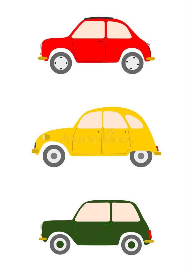 Kleine Europese geplaatste auto's. royalty-vrije illustratie