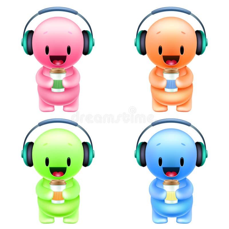 Kleine farbige Männer der lustigen Karikatur mit Kopfhörern und Papier lizenzfreie abbildung
