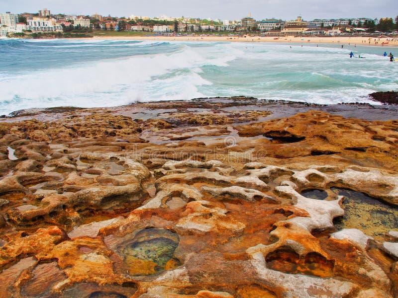 Kleine Felsen-Pools in Cratered Sandstein, Bondi-Strand, Australien stockfotografie
