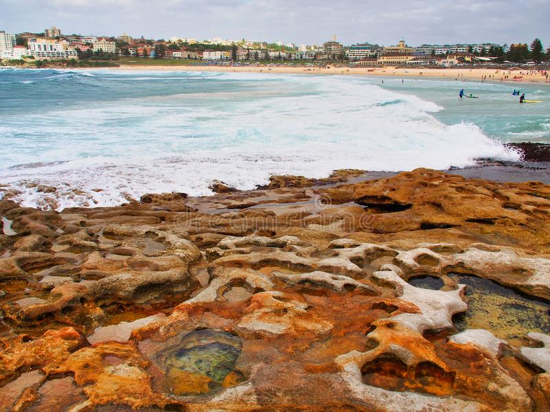 Kleine Felsen-Pools in Cratered Sandstein, Bondi-Strand, Australien stockfoto
