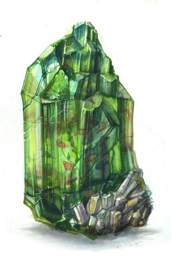 Kleine Fische in einem Smaragd lizenzfreie abbildung