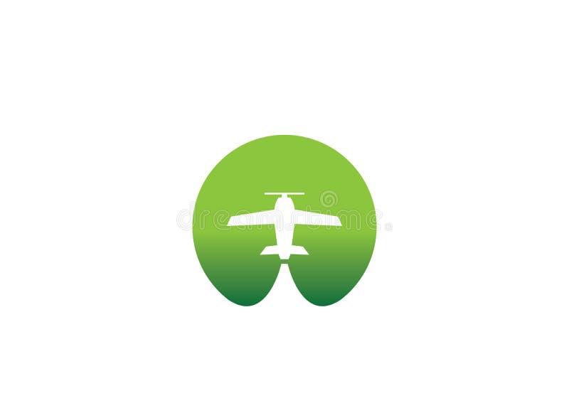 Kleine flache Reisebüro-Logoentwurfsidee mit einem Flugzeug über dem negativen Raum des grünen Kreises Überraschende Bestimmungso lizenzfreie abbildung