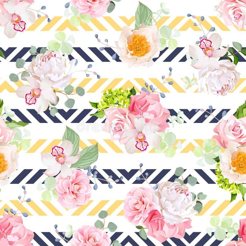 Kleine Frühlingsblumensträuße von stiegen, Pfingstrose, Kamelie, Orchidee, Gartennelke, Hortensie, blaue Beeren und eucaliptis Bl stock abbildung
