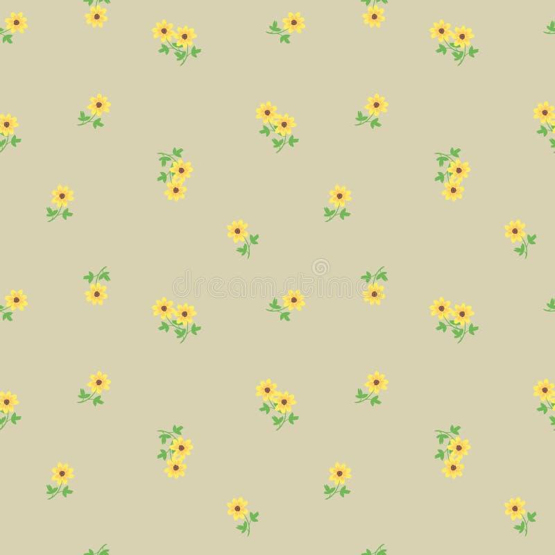 Kleine kleine gelbe Blumen mit Blättern zerstreuten auf den beige Hintergrund Nahtloses Muster der netten ditsy Freiheitsblumenwe stock abbildung