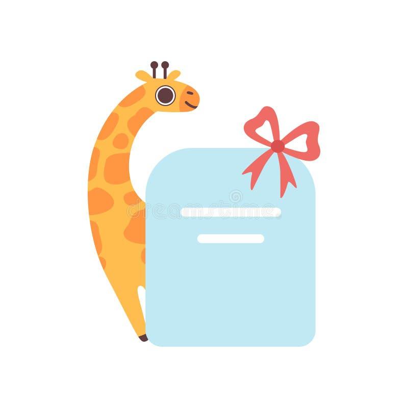 Kleine Giraffen-Holding-leere Fahne mit rotem Bogen, nettes Karikatur-Tier mit leerer Zeichen-Brett-Vektor-Illustration vektor abbildung