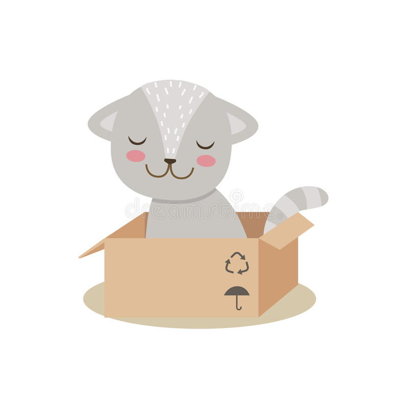 Kleine Girly nette Kitten Sitting In Cardboard Box, Karikatur-Haustier-Charakter-Lebenssituations-Illustration stock abbildung