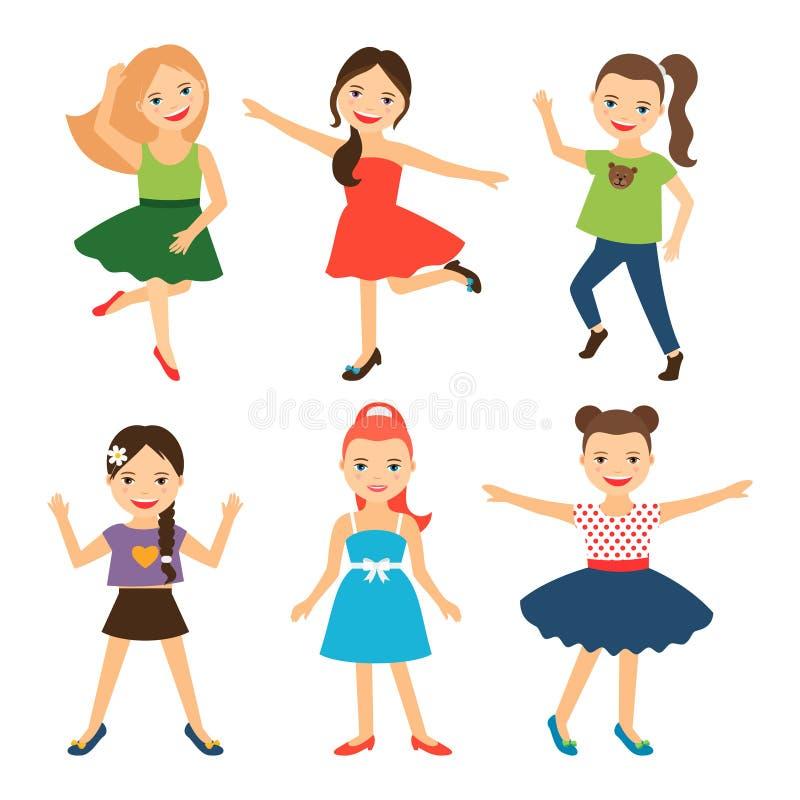 Kleine glückliche Mädchencharaktere stock abbildung