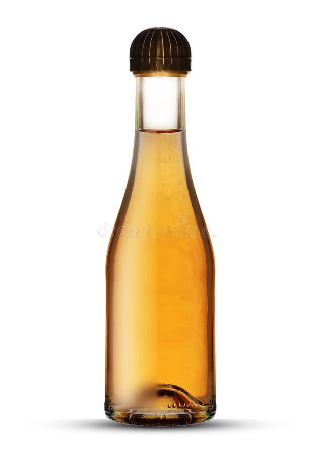Kleine glasfles met champagne stock foto