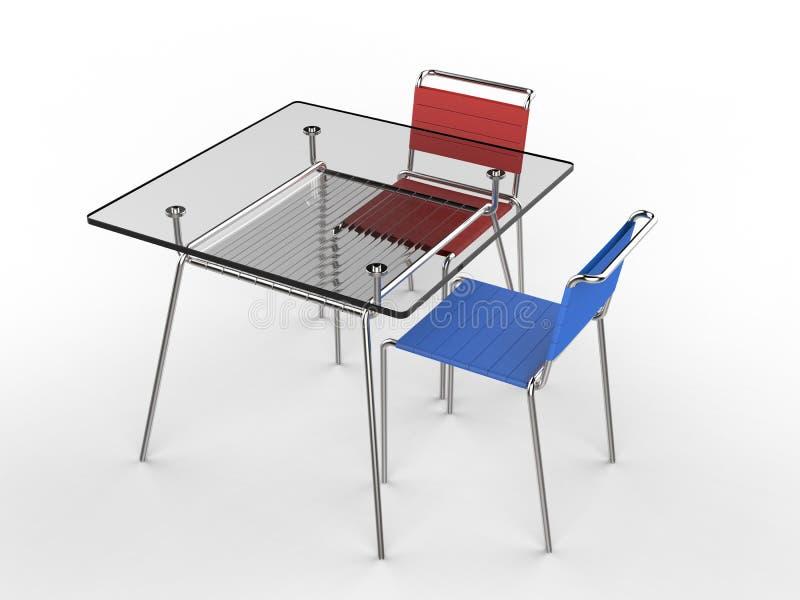 Rood Blauwe Stoel : Kleine glaslijst met blauwe en rode stoelen stock afbeelding