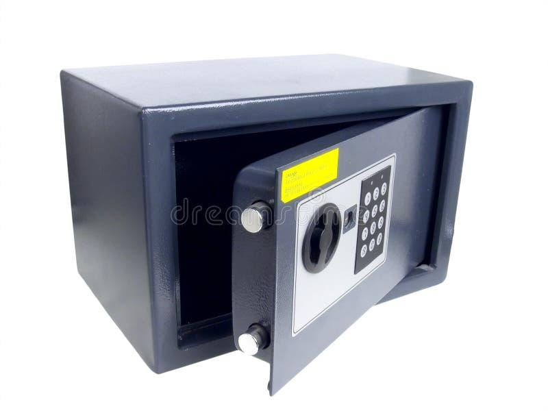 Kleine graue Geldkassette mit Codeverriegelung. stockbild