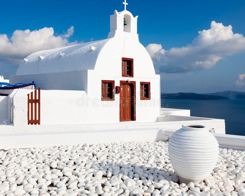 Kleine Griekse Kerk Oia Santorini stock foto's