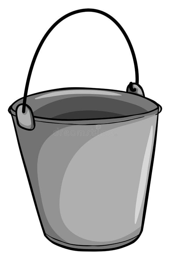 Kleine grijze emmer vector illustratie
