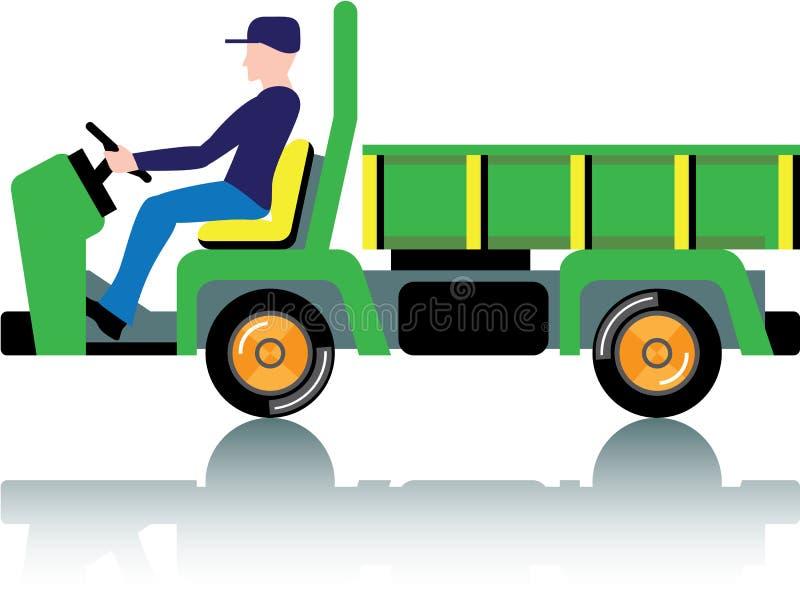 Kleine groene nutsvrachtwagen stock illustratie