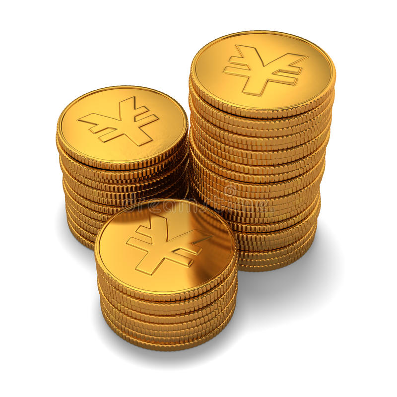 Kleine groep gouden Chinese yuan muntstukken op wit vector illustratie