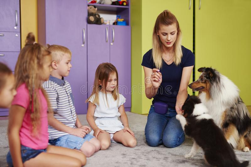 Kleine Gruppe Kinder, die mit Therapiehund spielen stockfotografie
