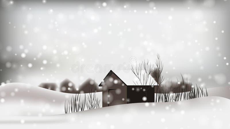 Kleine Häuschen gelegen auf szenischem Winter stock abbildung