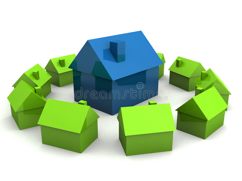 Kleine Häuser stock abbildung