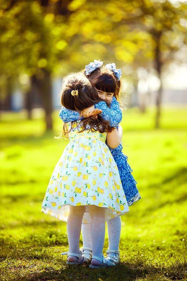 Kleine hübsche Mädchen, die den Spaß im Freien haben Zwei nette Mädchen stehen auf grünem Gras und dem Umarmen stockfotos