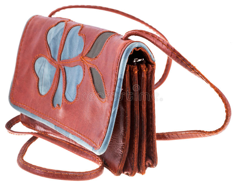 Kleine handliche lederne Frauentasche stockbild