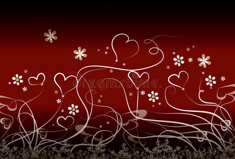 Kleine harten en bloemen stock illustratie