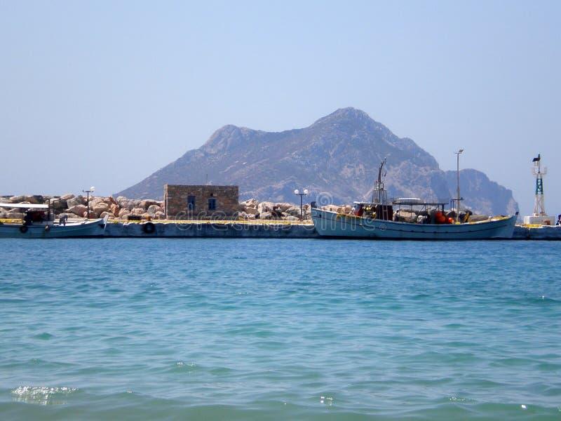 Kleine haven van Aegiali-dorp in Amorgos-eiland, Cycladen, Griekenland stock afbeelding
