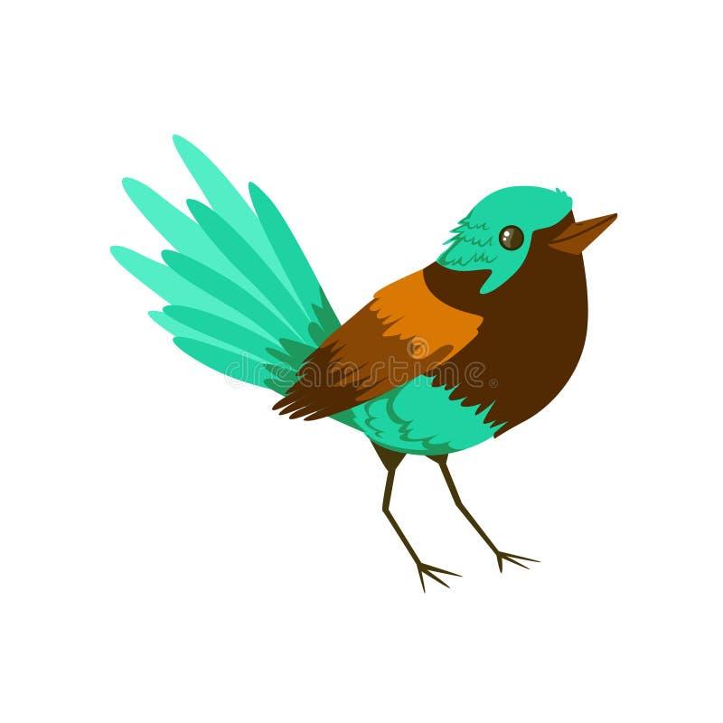 Kleine heldere tropische vogel kleurrijke vectorillustratie stock illustratie