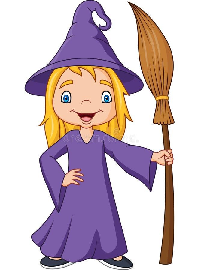 Kleine Hexe der Karikatur, die Besenstiel hält stock abbildung