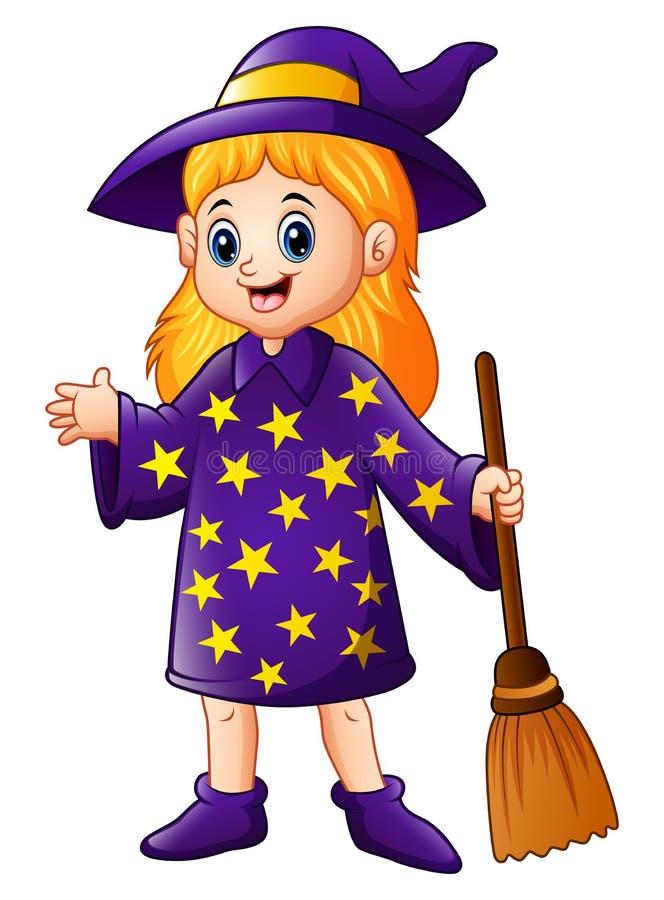 Kleine Hexe der Karikatur, die Besenstiel hält lizenzfreie abbildung