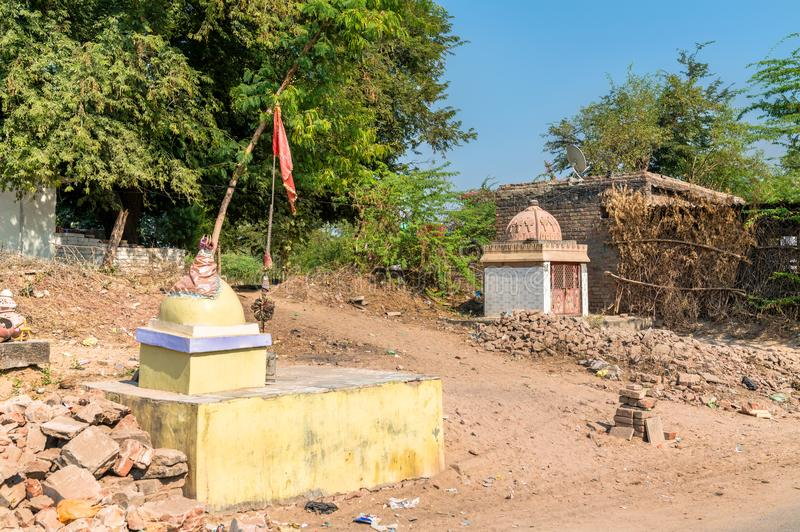 Kleine Hindoese Tempel in Patan - Gujarat, India stock afbeeldingen