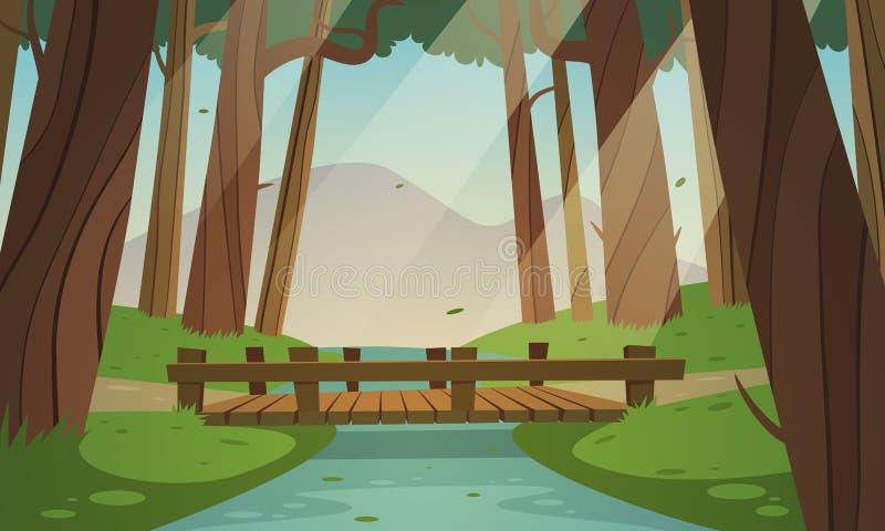 Kleine Holzbrücke im Wald lizenzfreie abbildung