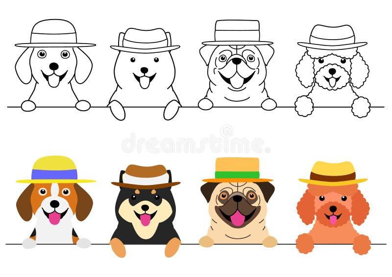 Kleine Hunde mit Strohhut in Folge vektor abbildung