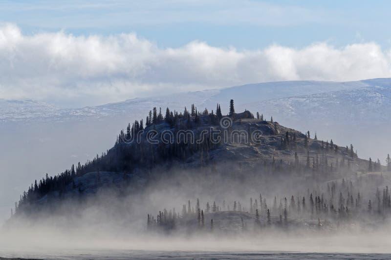 Kleine Insel auf Kluane See im Nebel stockfoto