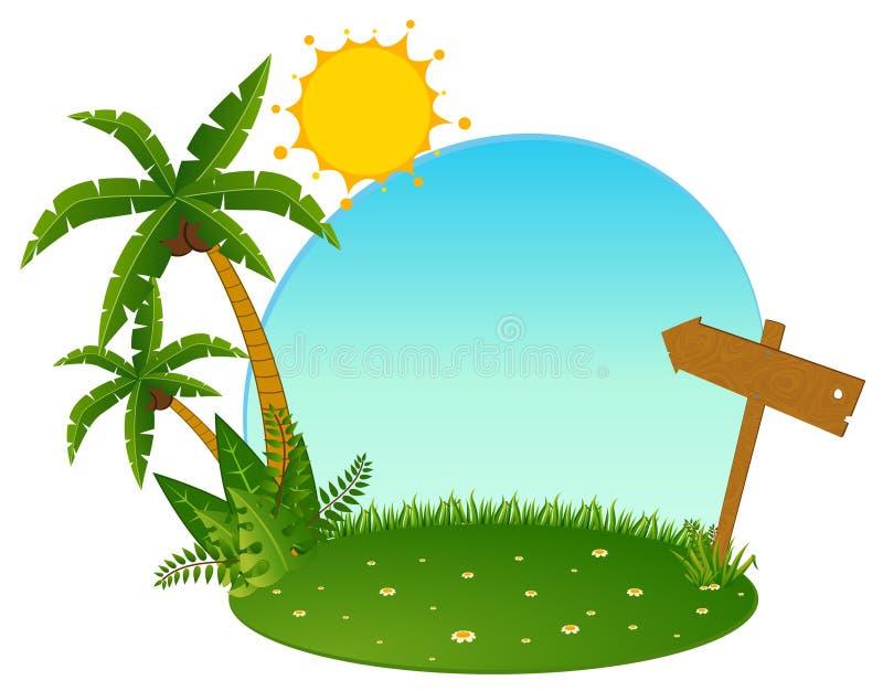 Kleine Insel mit tropischen Palmen vektor abbildung