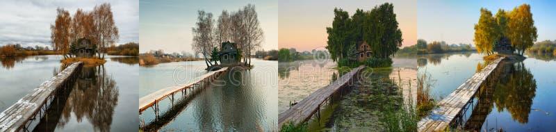 Kleine Insel Vier Jahreszeiten eine malerische Hütte in alle Jahreszeiten lizenzfreie stockfotografie