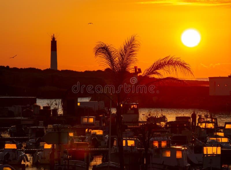 Kleine jachthaven in zonsopgang Port Carro, Marseille, Frankrijk stock afbeeldingen