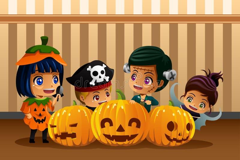 Kleine Jonge geitjes die Halloween-Kostuums dragen stock illustratie