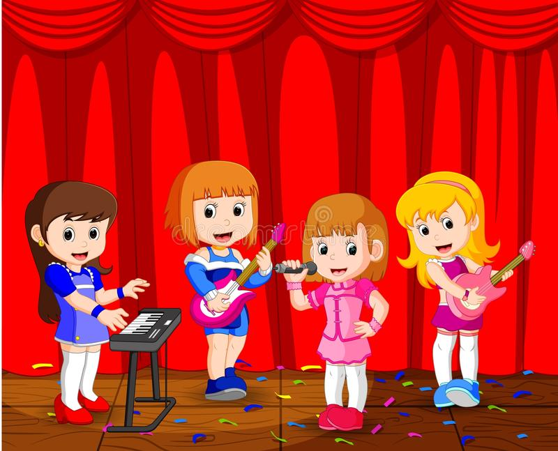 Kleine jonge geitjes die muziek in een muziekband spelen royalty-vrije illustratie