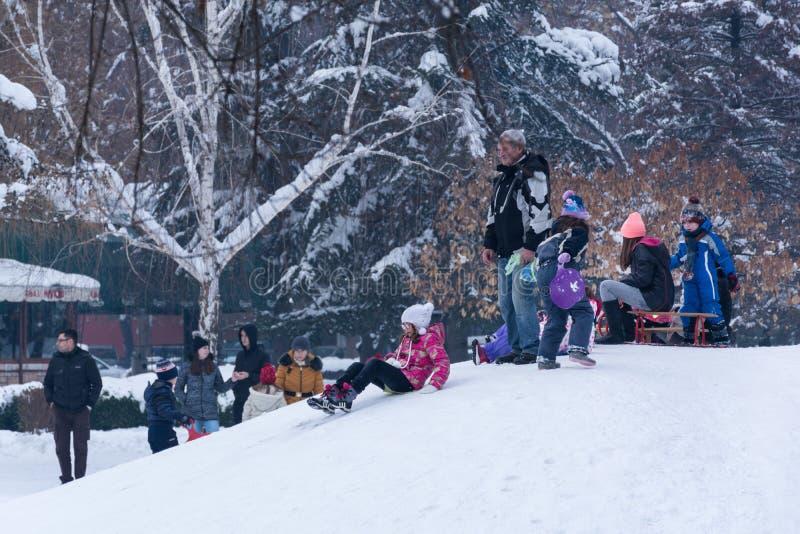 Kleine jonge geitjes en mensen die op sneeuw genieten van en onderaan de heuvels sledding royalty-vrije stock foto's